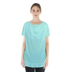 Tiffany Aqua Blue Chevron Zig Zag Skirt Hem Sports Top by PodArtist