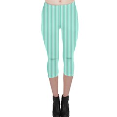 Classy Tiffany Aqua Blue Sailor Stripes Capri Leggings  by PodArtist
