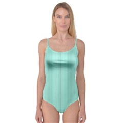 Classy Tiffany Aqua Blue Sailor Stripes Camisole Leotard  by PodArtist