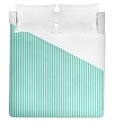Classy Tiffany Aqua Blue Sailor Stripes Duvet Cover (queen Size) by PodArtist