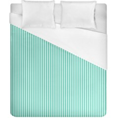 Classy Tiffany Aqua Blue Sailor Stripes Duvet Cover (california King Size) by PodArtist