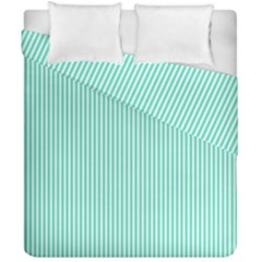 Classy Tiffany Aqua Blue Sailor Stripes Duvet Cover Double Side (california King Size) by PodArtist