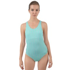 Classy Tiffany Aqua Blue Sailor Stripes Cut Out Back One Piece Swimsuit by PodArtist