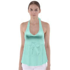 Classy Tiffany Aqua Blue Sailor Stripes Babydoll Tankini Top by PodArtist