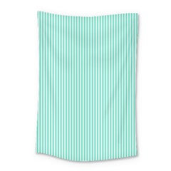 Classy Tiffany Aqua Blue Sailor Stripes Small Tapestry by PodArtist
