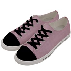 Baby Pink Stitched And Quilted Pattern Men s Low Top Canvas Sneakers by PodArtist