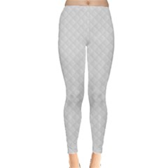 Bright White Stitched And Quilted Pattern Leggings  by PodArtist