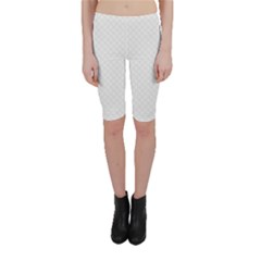 Bright White Stitched And Quilted Pattern Cropped Leggings  by PodArtist