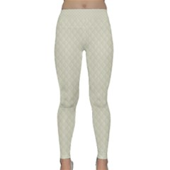Rich Cream Stitched And Quilted Pattern Classic Yoga Leggings by PodArtist