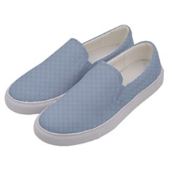 Powder Blue Stitched And Quilted Pattern Men s Canvas Slip Ons by PodArtist