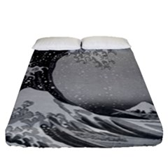 Black And White Japanese Great Wave Off Kanagawa By Hokusai Fitted Sheet (queen Size) by PodArtist