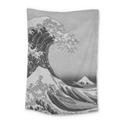 Black And White Japanese Great Wave Off Kanagawa By Hokusai Small Tapestry by PodArtist