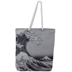 Black And White Japanese Great Wave Off Kanagawa By Hokusai Full Print Rope Handle Tote (large)
