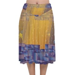Up Down City Velvet Flared Midi Skirt