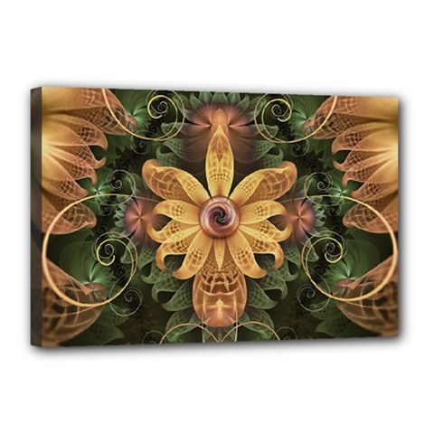 Beautiful Filigree Oxidized Copper Fractal Orchid Canvas 18  X 12  by jayaprime