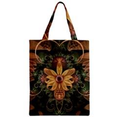 Beautiful Filigree Oxidized Copper Fractal Orchid Zipper Classic Tote Bag by jayaprime