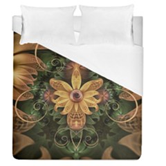 Beautiful Filigree Oxidized Copper Fractal Orchid Duvet Cover (queen Size) by jayaprime