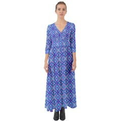 Pattern Button Up Boho Maxi Dress
