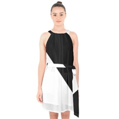 Pattern Halter Collar Waist Tie Chiffon Dress