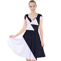 Pattern Cap Sleeve Front Wrap Midi Dress