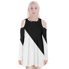 Pattern Velvet Long Sleeve Shoulder Cutout Dress