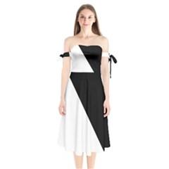 Pattern Shoulder Tie Bardot Midi Dress
