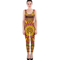 Sunshine Mandala And Other Golden Planets Onepiece Catsuit by pepitasart