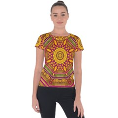 Sunshine Mandala And Other Golden Planets Short Sleeve Sports Top  by pepitasart
