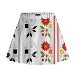 Bulgarian Folk Art Folk Art Mini Flare Skirt by Celenk