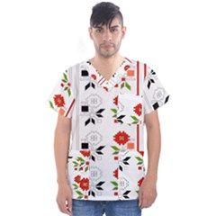 Bulgarian Folk Art Folk Art Men s V Neck Scrub Top by Celenk