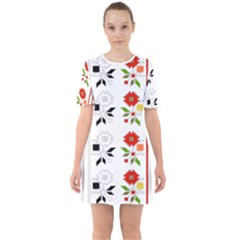 Bulgarian Folk Art Folk Art Sixties Short Sleeve Mini Dress