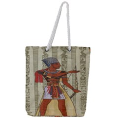 Egyptian Design Man Royal Full Print Rope Handle Tote (large)
