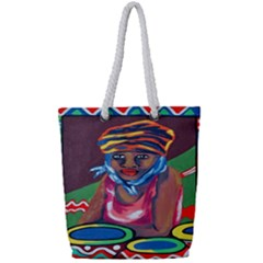 Ethnic Africa Art Work Drawing Full Print Rope Handle Bag (small)