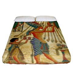 Egyptian Man Sun God Ra Amun Fitted Sheet (king Size) by Celenk