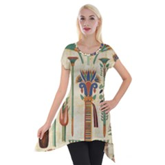Egyptian Paper Papyrus Hieroglyphs Short Sleeve Side Drop Tunic