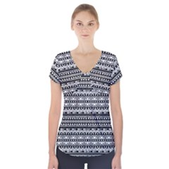 Zentangle Lines Pattern Short Sleeve Front Detail Top by Celenk
