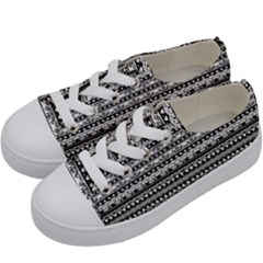 Zentangle Lines Pattern Kids  Low Top Canvas Sneakers by Celenk