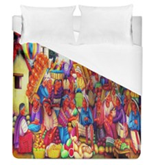 Guatemala Art Painting Naive Duvet Cover (queen Size) by Celenk