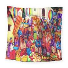 Guatemala Art Painting Naive Square Tapestry (large) by Celenk