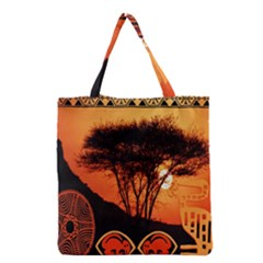 Africa Safari Summer Sun Nature Grocery Tote Bag by Celenk