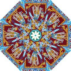 Mexico Puebla Mural Ethnic Aztec Folding Umbrellas by Celenk