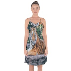 Animal Big Cat Safari Tiger Ruffle Detail Chiffon Dress by Celenk