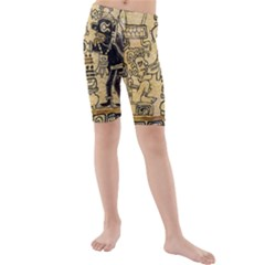 Mystery Pattern Pyramid Peru Aztec Font Art Drawing Illustration Design Text Mexico History Indian Kids  Mid Length Swim Shorts
