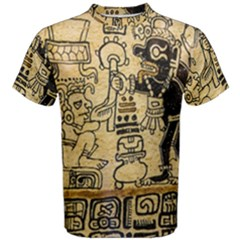 Mystery Pattern Pyramid Peru Aztec Font Art Drawing Illustration Design Text Mexico History Indian Men s Cotton Tee