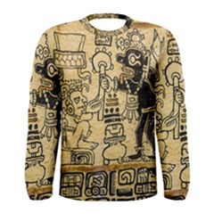 Mystery Pattern Pyramid Peru Aztec Font Art Drawing Illustration Design Text Mexico History Indian Men s Long Sleeve Tee
