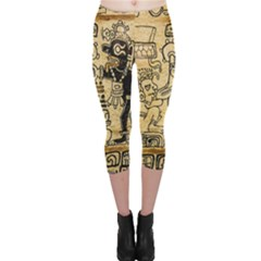 Mystery Pattern Pyramid Peru Aztec Font Art Drawing Illustration Design Text Mexico History Indian Capri Leggings