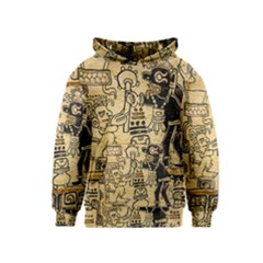 Mystery Pattern Pyramid Peru Aztec Font Art Drawing Illustration Design Text Mexico History Indian Kids  Pullover Hoodie