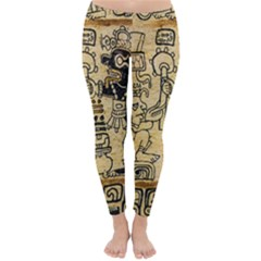 Mystery Pattern Pyramid Peru Aztec Font Art Drawing Illustration Design Text Mexico History Indian Classic Winter Leggings