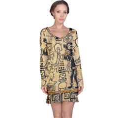 Mystery Pattern Pyramid Peru Aztec Font Art Drawing Illustration Design Text Mexico History Indian Long Sleeve Nightdress
