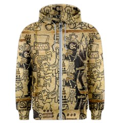 Mystery Pattern Pyramid Peru Aztec Font Art Drawing Illustration Design Text Mexico History Indian Men s Zipper Hoodie